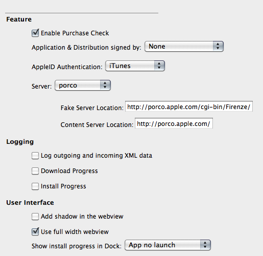 Mac App Store Debug-Menü