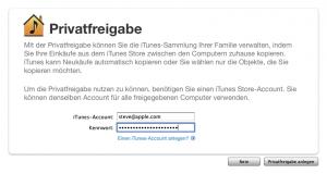 iTunes-Privatfreigabe - Screenshot