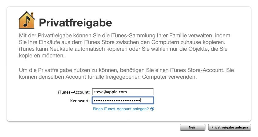 iTunes-Privatfreigabe - Screenshot