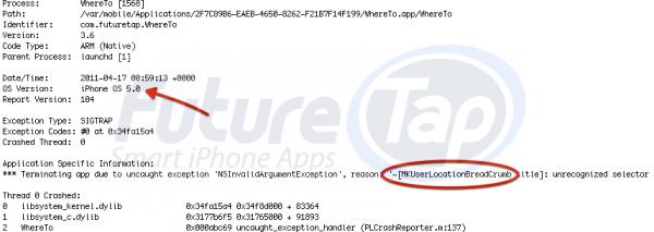 iOS-5-Hinweis in FutureTap-Fehlerbericht