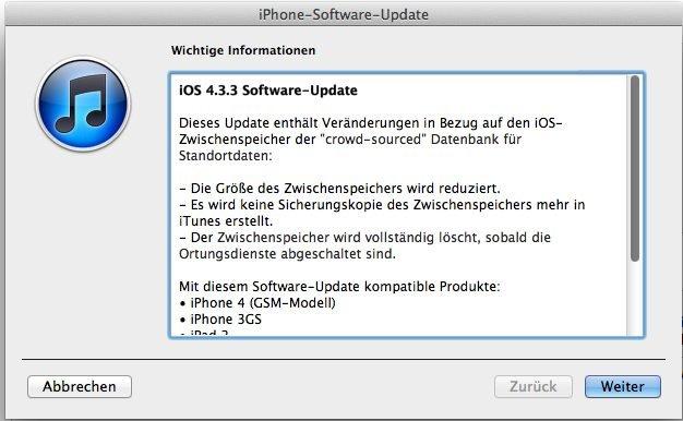iOS 4.3.3 - Updatemeldung
