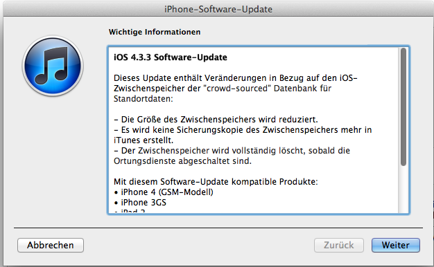 iOS 4.3.3 - Updatemeldung