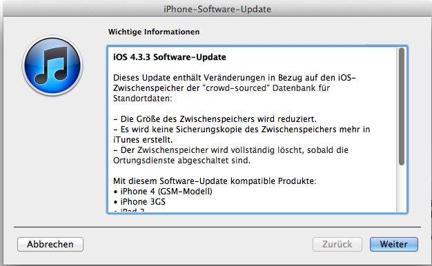 iOS 4.3.3 veröffentlicht