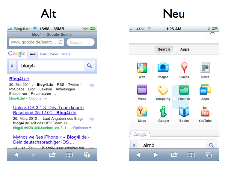 Google Mobile Suche - Vergleich alt gegen neu