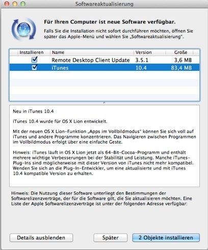 iTunes 10.4 - Updatemeldung