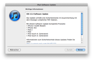 iOS 4.3.4-Update via iTunes