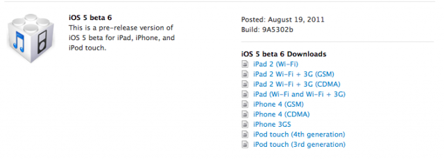 iOS 5 Beta 6 - Downloadlinks