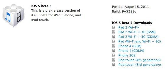 iOS 5 Beta 5 - Downloadlinks