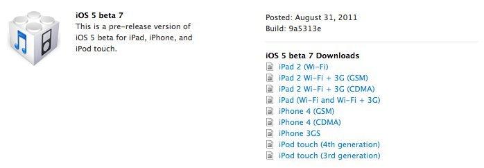 iOS 5 Beta 7 - Downloadlinks