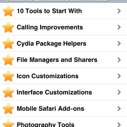 Cydia featured Jailbreak-Apps und Tweaks