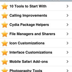 Cydia featured Jailbreak-Apps und Tweaks