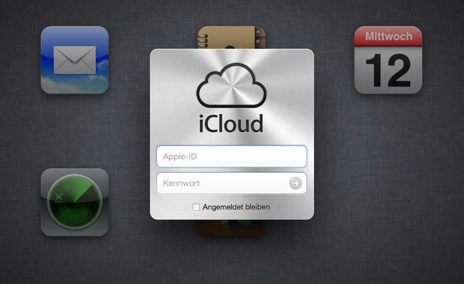 iCloud - Login-Bildschirm