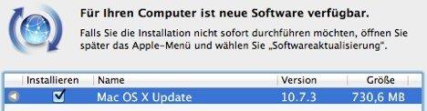 OS X 10.7.3 - Updatemeldung