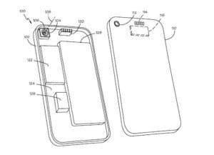 Apple Konzeptzeichnung zum Patent für ein rückseitig angebrachtes Foto-Zubehör an einem mobile Device wie dem iPhone