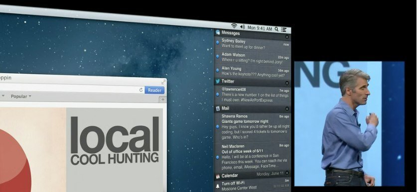 Präsentation des Notification Center in OS X Mountain Lion