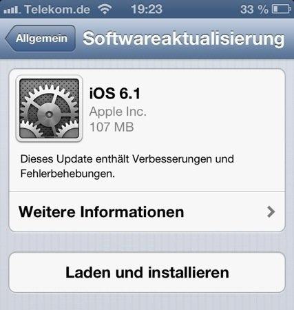 iOS 6.1 - Softwareaktualisierung