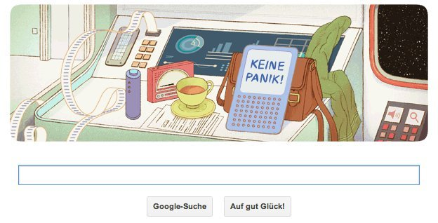 Google Doodle zu Douglas Adams 61tem Geburtstag am 11. März 2013