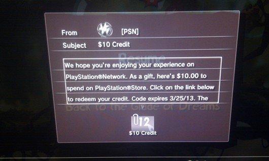 PSN-Gutschrift über 10 US-Dollar