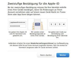Zwei-Schritt-Authentifizierung der Apple-ID