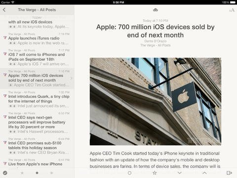 Reeder 2 – iPad-Screenshot
