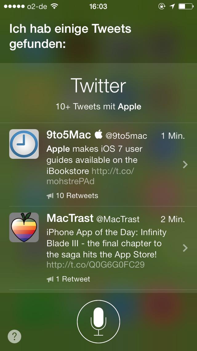 Ergebnisse der Twitter-Suche mit Siri in iOS 7 zum Suchwort Apple