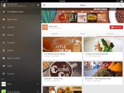 iPad-Screenshot der YouTube-App unter iOS 7.