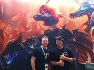 """Travis """"Volibar"""" George (links) und Samy Chae (rechts) auf GamesCom 2012"""