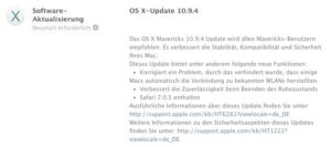 OS X 10.9.4 - Updatehinweis