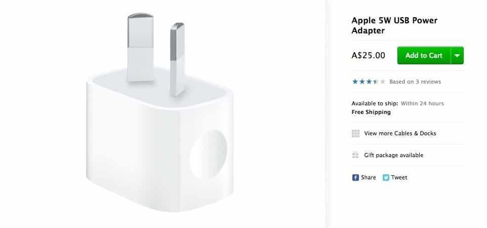 Apple USB-Netzteil aus Australien