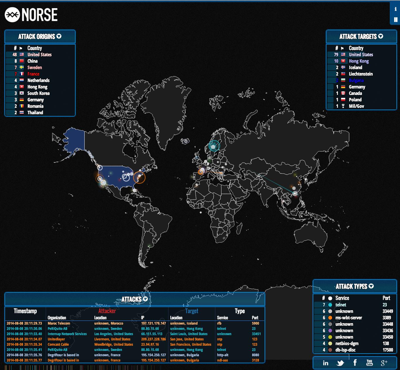 Echtzeit-Weltkarte zeigt DDoS-Attacken