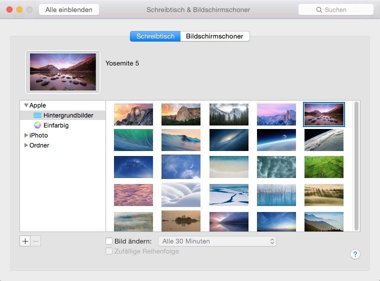 Schreibtisch und Bildschirmschoner in OS X 10.10 Developer Preview 6