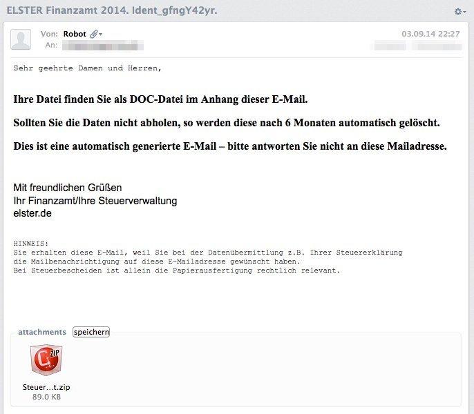 ELSTER Phishing-E-Mail