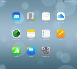 iCloud.com - Beta mit Einstellungen und iCloud Drive