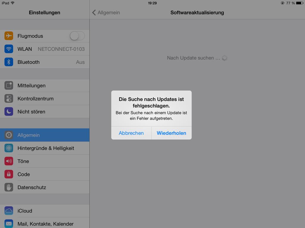iOS 8 - Fehlemeldung am iPad
