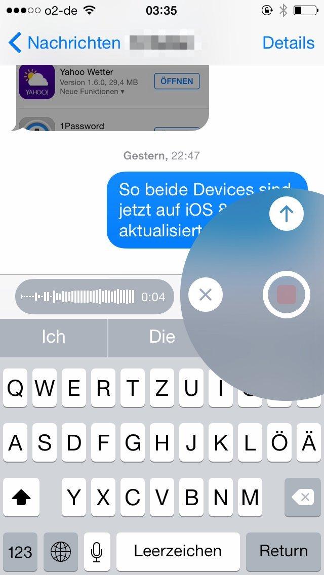iOS 8 Nachrichten-App mit Kreismenü