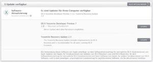 OS X 10.10 - Developer Preview 7 Update-Meldung