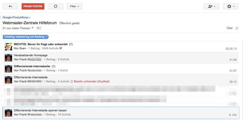 Webmaster-Tool-Forum - Frank W.s Meldungen zur Diffamierung