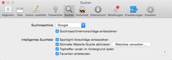 Safari - Spotlight-Vorschläge einbeziehen
