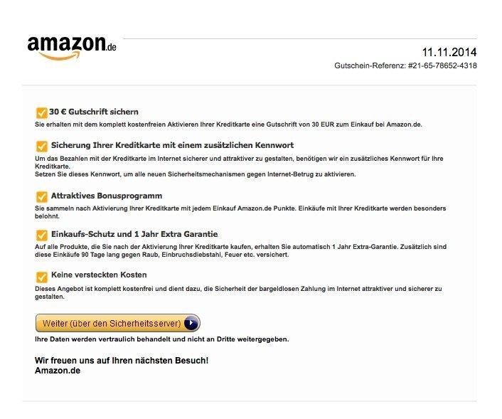 Amazon Phishing-E-Mail - Screenshot