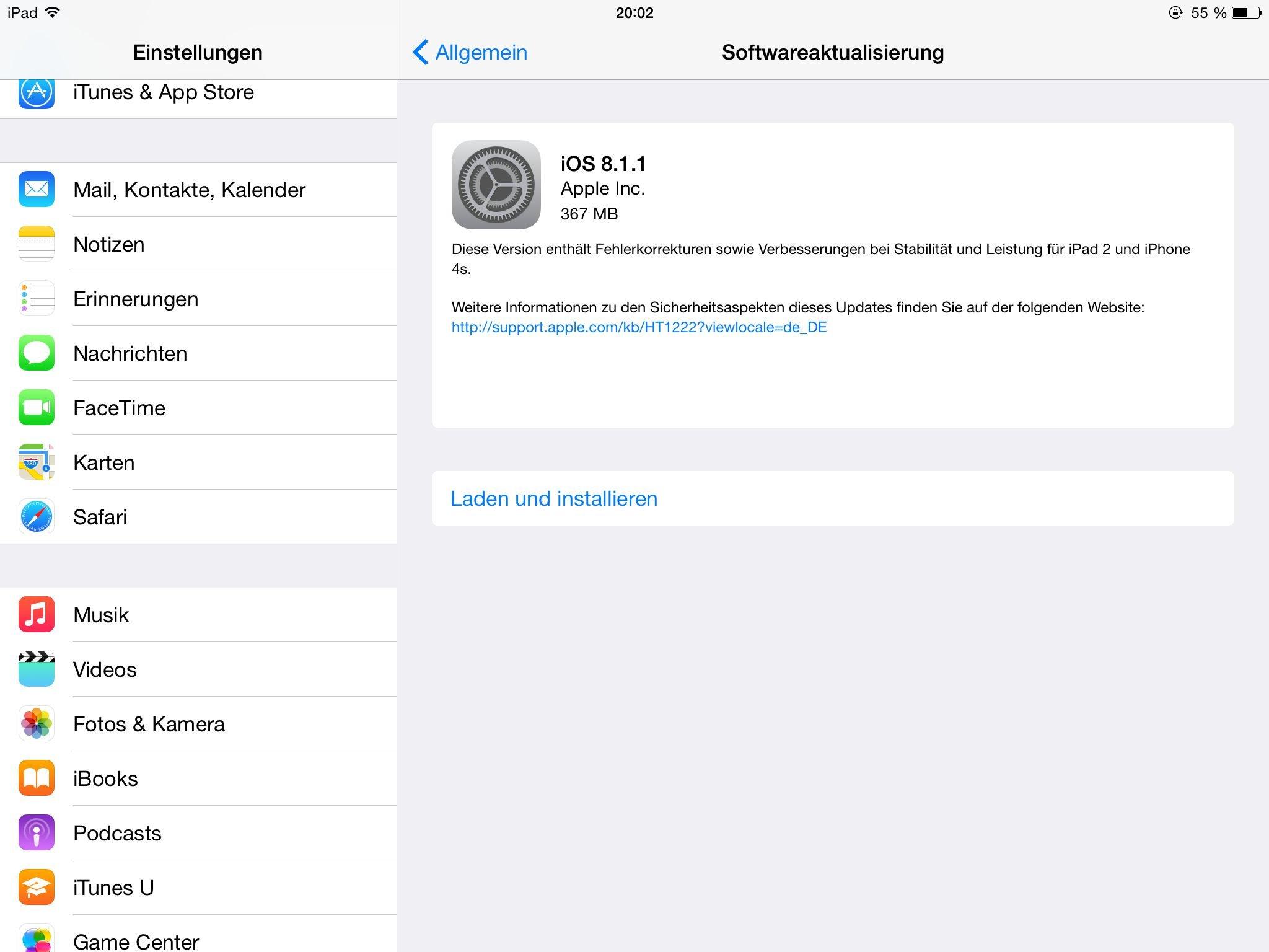 iOS 8.1.1 - Downloadhinweis