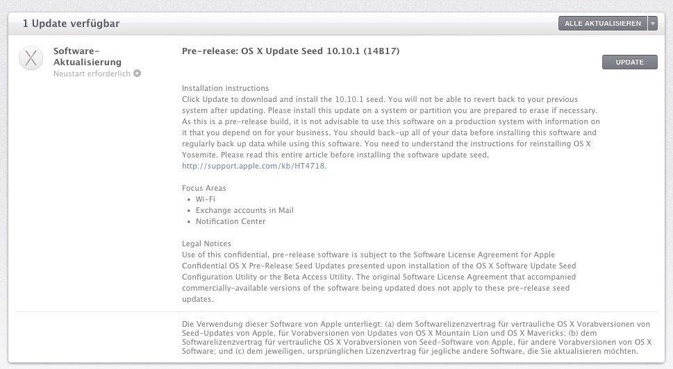 OS X 10.10.1 - Beta 1