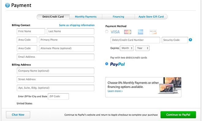 Apple Store - PayPal-Bezahloption