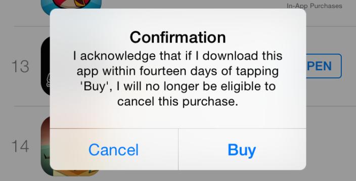 App Store - Hinweis auf Rücktritt vom Rückgaberecht