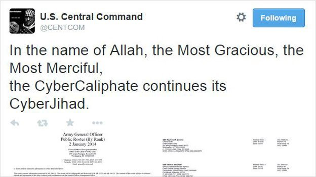 Twitter-Hack @centcom - Screenshot