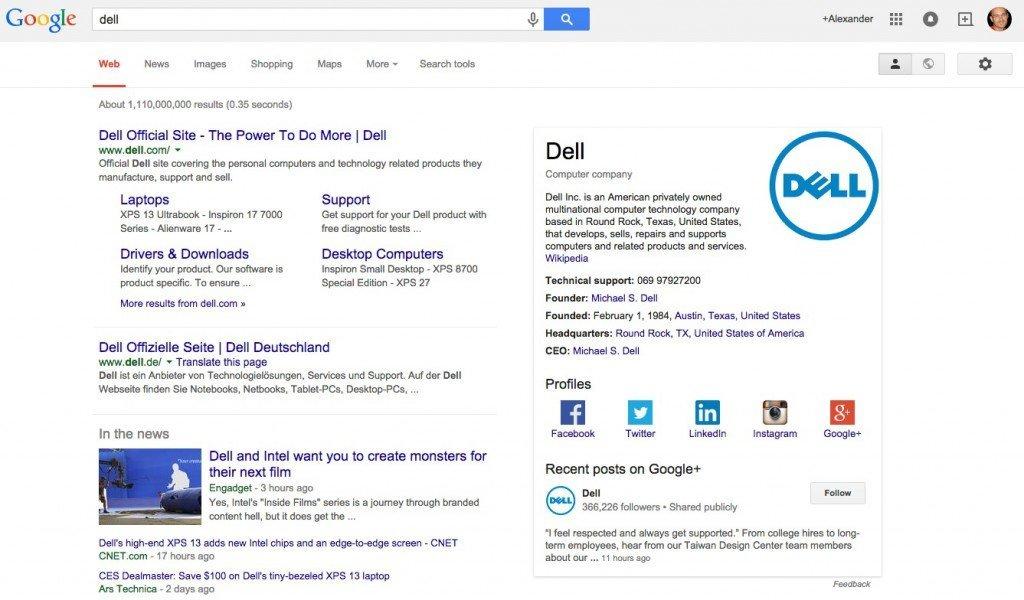 Dells Social-Media-Profile im Knowledge Graph