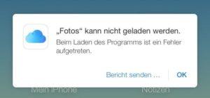 iCloud.com - Fehlermeldung Fotos-App
