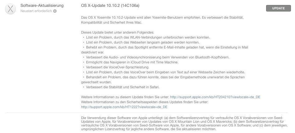 OS X 10.10.2 - Downloadhinweis Beta 6