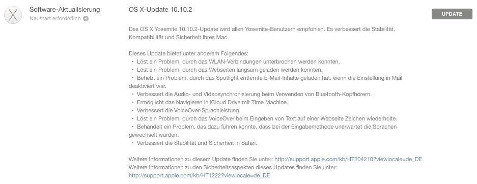 OS X 10.10.2 - Update-Hinweis