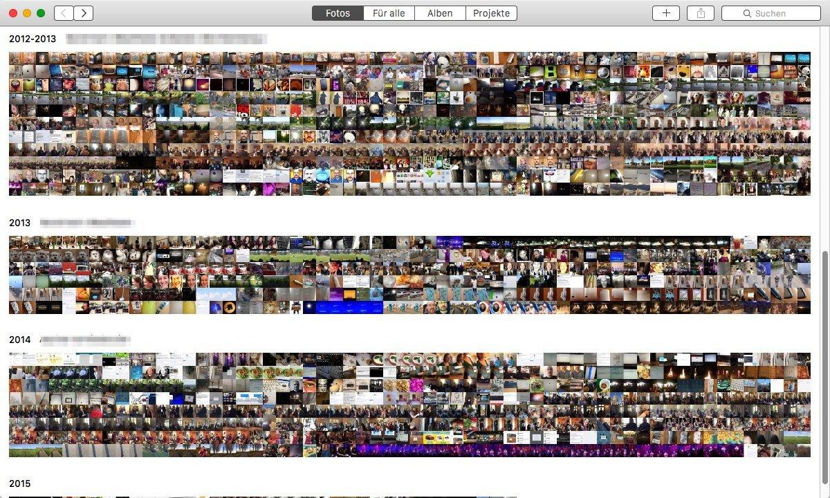 Fotos-App - Miniatur-Ansichten chronologisch nach Jahr