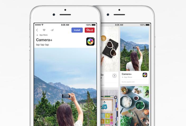 Pinterest - neuer iOS-Installations-Button